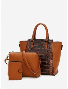 3Pcs Leather Handbag Shoulder Bag Wallet Set