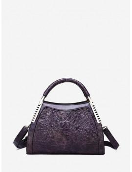Animal Embossed PU Hardware Accent Handbag