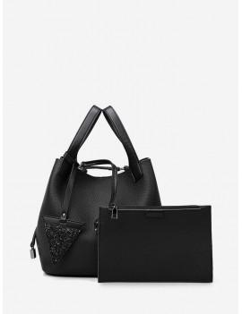 2 Piece Triangle Accent Retro Large Capacity Handbag Set