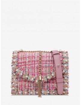 Faux Pearl Embellished Tweed Crossbody Bag