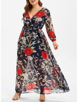 Floral Print Overlay Plus Size Maxi Dress - 3x