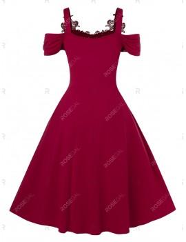 Plus Size Cold Shoulder Vintage A Line Solid Dress - 2x