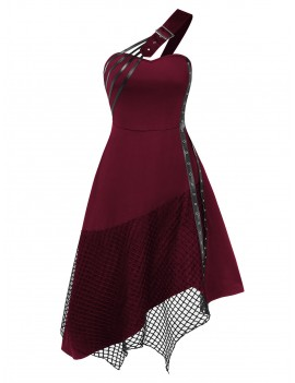 Halloween One Shoulder Buckle Grommets Fishnet Insert Gothic Dress - 3xl
