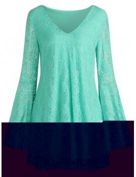 Bell Sleeve Mini Lace Dress - Xl