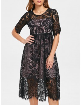 Lace Overlay Midi Party Dress - S