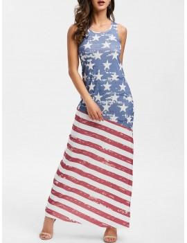 American Flag Print Sleeveless Dress - S