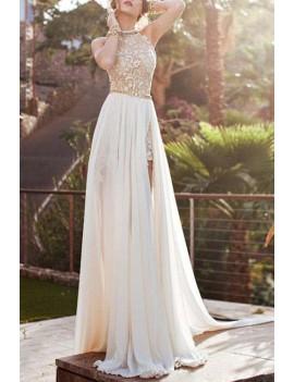 Elegant Halter Neck Sleeveless Backless High Slit Women's Maxi Dress - S