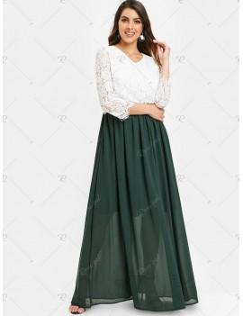 Scalloped Lace Bodice Two Tone Maxi Dress - 2xl