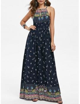 Bohemian Flower Sleeveless Dress - 2xl