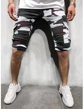 Camouflage Print Side Flap Pocket Casual Shorts - Xl