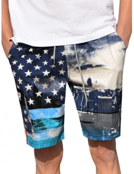 American Flag Print Casual Board Shorts - L