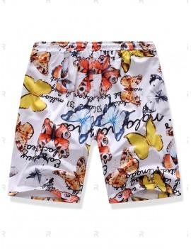 Butterfly Print Pockets Drawstring Shorts - L