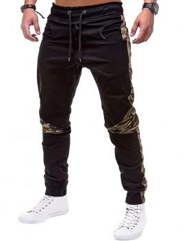 Camouflage Print Spliced Drawstring Jogger Pants - Xl