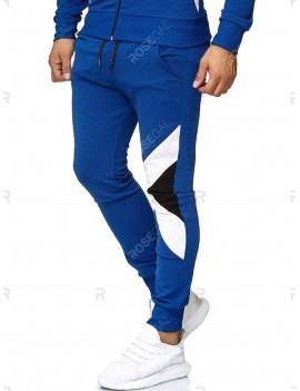 Color Spliced Drawstring Casual Jogger Pants - 2xl