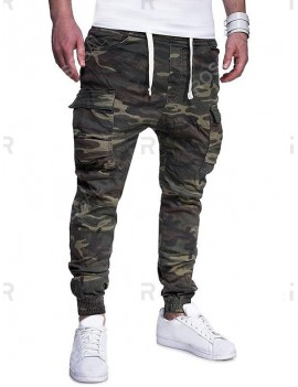 Camouflage Print Side Flap Pocket Drawstring Jogger Pants - Xl