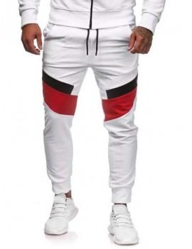 Color Blocking Sport Drawstring Jogger Pants - L