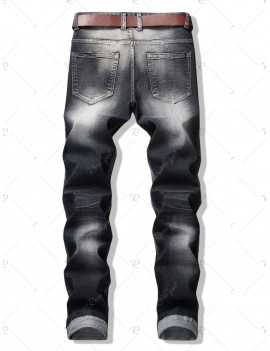 Broken Hole Patch Slim Denim Pants - 34