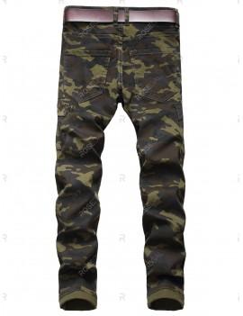 Camo Print Pocket Decoration Jeans - 36