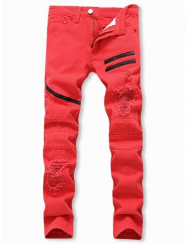 Destroyed Decoration Zipper Casual Jeans - 32
