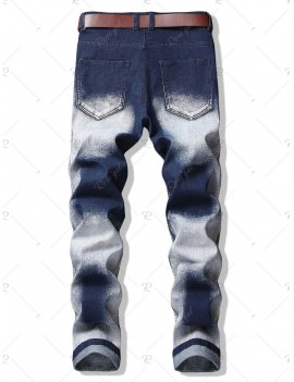 Chinese Opera Mask Patch Pencil Jeans - 38