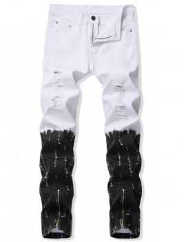 Color Block Print Zipper Casual Jeans - 42