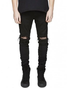Destroyed Design Zip Fly Skinny Jeans - 36