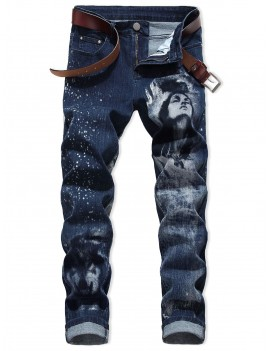 Character Wolf Print Casual Jeans - 40