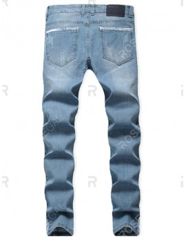 Casual Ripped Decoration Zip Fly Jeans - 40